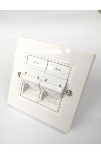 RJ45 2 WAY R/A FACE PLATE