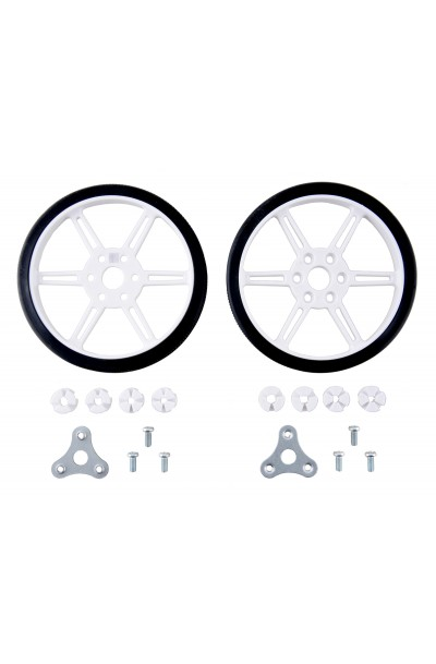 Pololu Multi-Hub Wheel w/Inserts for 3mm and 4mm Shafts - 80×10mm, White, 2-pack
