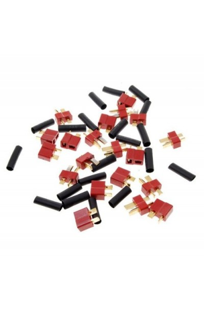 10 Pairs Ultra T Plug Connectors Deans Style For RC LiPo Battery Male and Female + Shrink Tubing