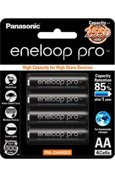 Panasonic eneloop pro AA 2550mAh Rechargeable Battery - Pack of 4