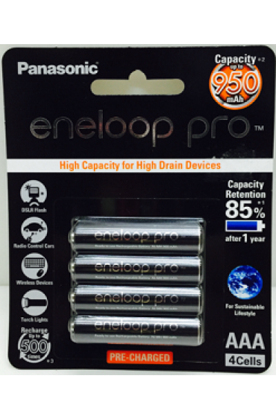 Panasonic eneloop pro AAA 950mAh Rechargeable Battery - Pack of 4