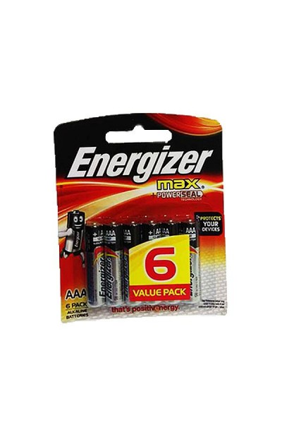 6 Pcs/Pack Energizer Max AAA Alkaline Batteries