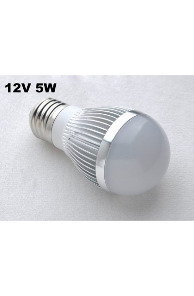 E27 Screw Base 5w 12v DC Low Voltage Solar Marine RV LED Light Bulb - COOL WHITE