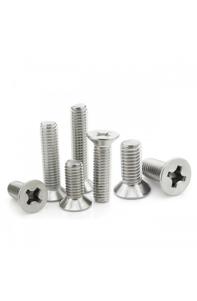 M2 x 10mm Stainless Steel Philips CSK Flat Head Screw - 100 Set/Pack