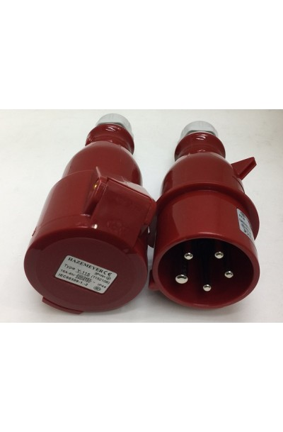 IP44 Red Cable Mount 5P Industrial Power Plug and Socket, Rated At 16A, 415 V