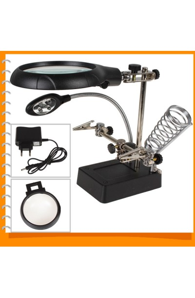 Helping Hand Magnifier Magnifying Glasses Eye Gauge Lens Soldering Aid with LED Light and Soldering Stand - Black