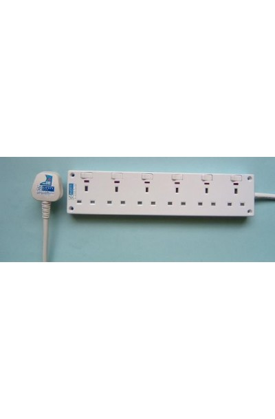 NCE 6-WAY POWER SOCKET WITH NEON (NCE6603N)