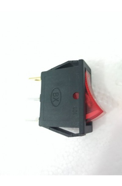 3 PIN ROCKER SWITCH WITH NEON LIGHT 230VAC ON/OFF - RED
